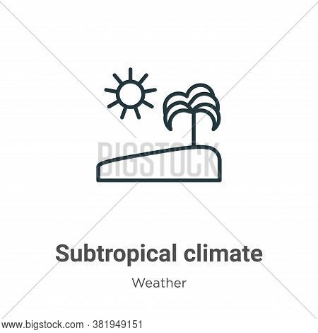 Subtropical climate icon isolated on white background from weather collection. Subtropical climate i