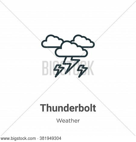 Thunderbolt icon isolated on white background from weather collection. Thunderbolt icon trendy and m
