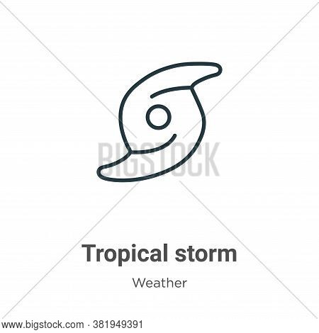 Tropical storm icon isolated on white background from weather collection. Tropical storm icon trendy