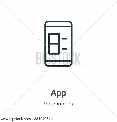 App icon isolated on white background from programming collection. App icon trendy and modern App sy