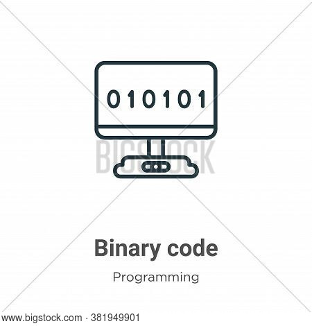 Binary code icon isolated on white background from programming collection. Binary code icon trendy a