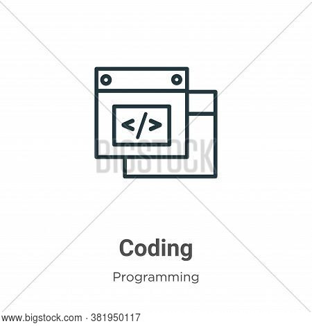 Coding icon isolated on white background from programming collection. Coding icon trendy and modern