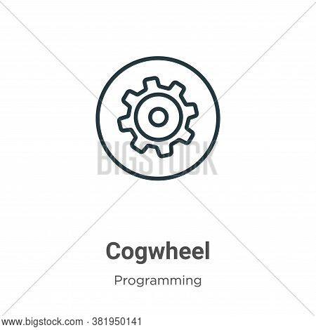 Cogwheel icon isolated on white background from programming collection. Cogwheel icon trendy and mod