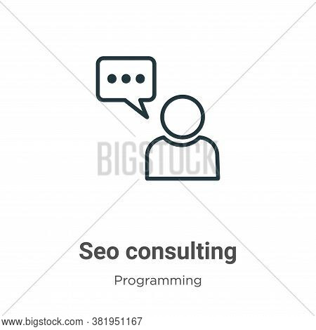 Seo consulting icon isolated on white background from seo collection. Seo consulting icon trendy and