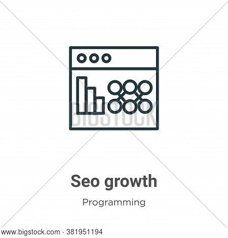 Seo growth icon isolated on white background from seo collection. Seo growth icon trendy and modern