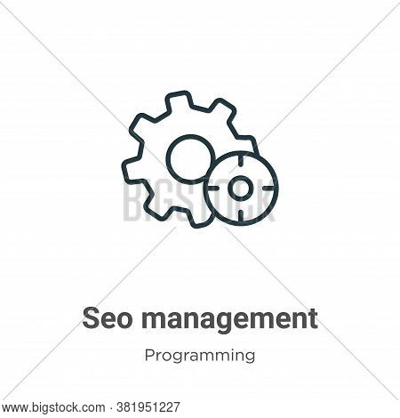 Seo management icon isolated on white background from seo collection. Seo management icon trendy and