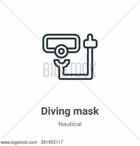 Diving mask icon isolated on white background from nautical collection. Diving mask icon trendy and