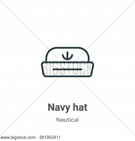 Navy hat icon isolated on white background from nautical collection. Navy hat icon trendy and modern
