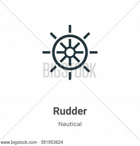 Rudder icon isolated on white background from nautical collection. Rudder icon trendy and modern Rud