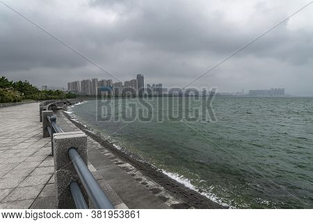 Empty Sea Embankment At Cloudy Day. Overcast Weihai, China