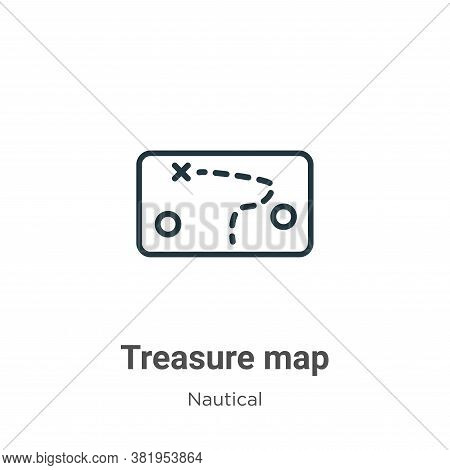 Treasure map icon isolated on white background from nautical collection. Treasure map icon trendy an