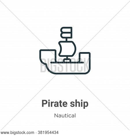 Pirate ship icon isolated on white background from nautical collection. Pirate ship icon trendy and