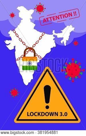 India Extended Lockdown To Fight With Covid-19 Pandemic. Lockdown 3.0 Background With Corona Warrior