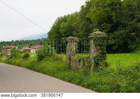 The Remains Of The Wall At The Former World War One Cemetery In Kamno, Primorska, Slovenia. The Bodi