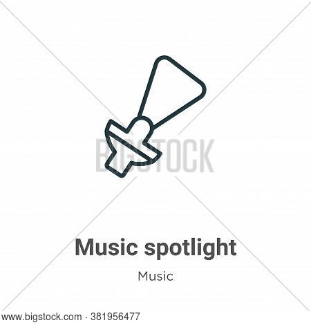 Music spotlight icon isolated on white background from music collection. Music spotlight icon trendy
