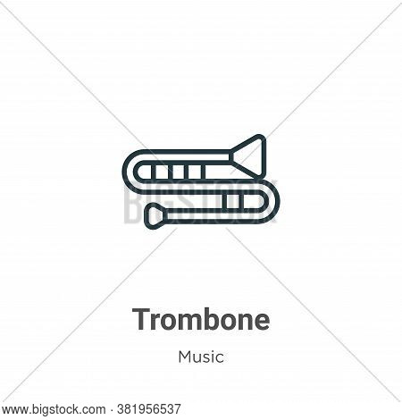 Trombone Icon From Music Collection Isolated On White Background.