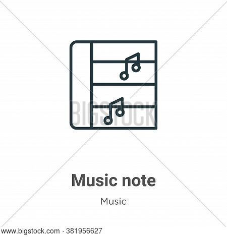 Music note icon isolated on white background from music collection. Music note icon trendy and moder
