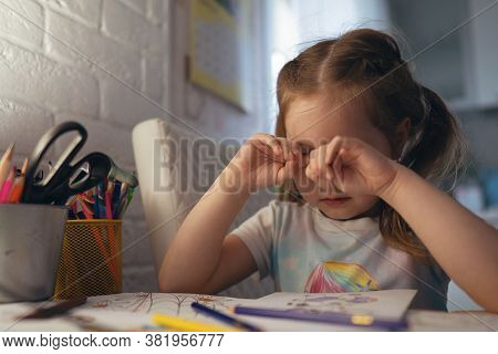 Cute Little Girl Coloring Pictures, Rubs Her Eyes. Tired Eyes, Conjunctivitis, Feeling Of Sand In Th