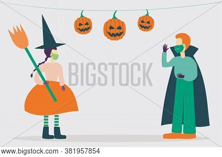 Illustration Of Kid Characters Wearing Halloween Costumes And Protective Masks