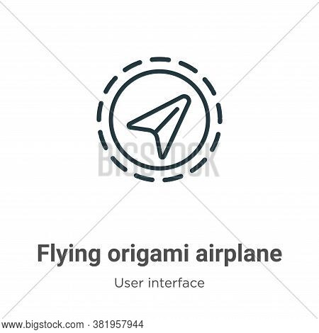 Flying origami airplane icon isolated on white background from user interface collection. Flying ori