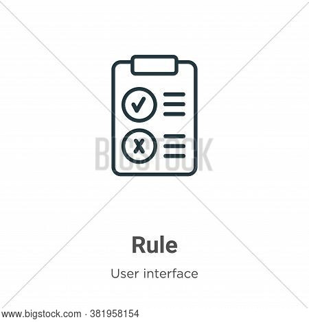 Rule icon isolated on white background from user interface collection. Rule icon trendy and modern R