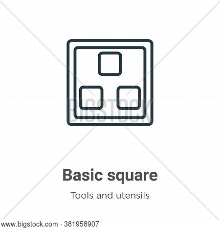 Basic square icon isolated on white background from tools and utensils collection. Basic square icon