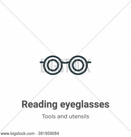 Reading eyeglasses icon isolated on white background from tools and utensils collection. Reading eye
