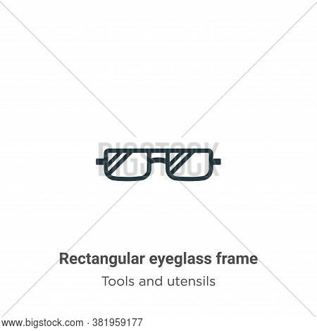 Rectangular eyeglass frame icon isolated on white background from tools and utensils collection. Rec