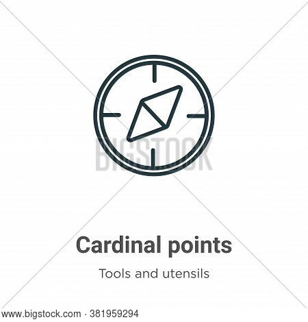 Cardinal points icon isolated on white background from tools and utensils collection. Cardinal point
