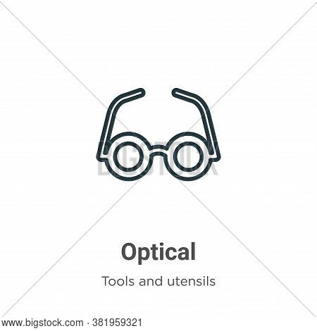 Optical icon isolated on white background from tools and utensils collection. Optical icon trendy an