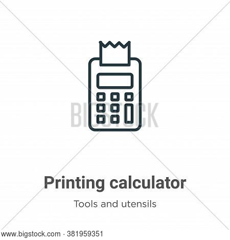 Printing calculator icon isolated on white background from tools and utensils collection. Printing c