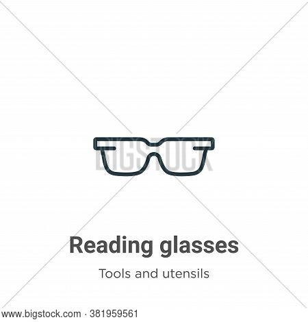 Reading glasses icon isolated on white background from tools and utensils collection. Reading glasse
