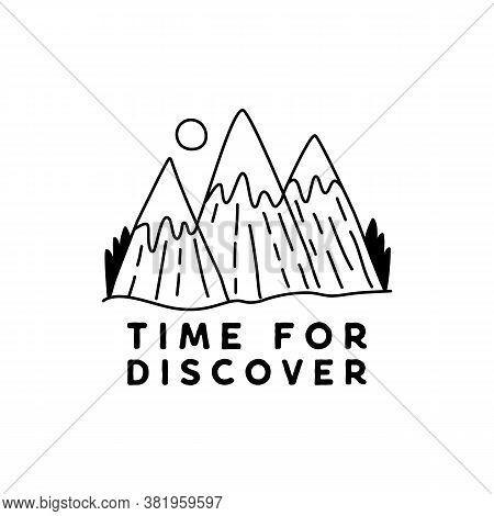 Vintage Simple Camp Logo Design. Outdoor Adventure Mountain Line Art Scene, Landscape. Silhouette Li