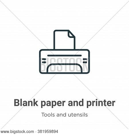 Blank paper and printer icon isolated on white background from tools and utensils collection. Blank