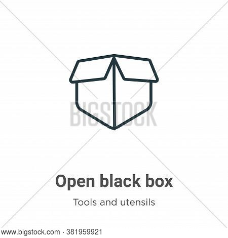 Open black box icon isolated on white background from tools and utensils collection. Open black box