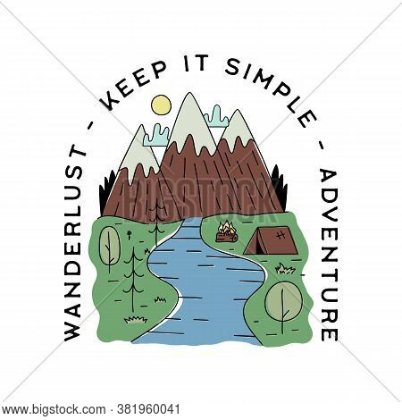 Vintage Camp Patch Logo, Mountain Life Badge. Hand Drawn Sticker Design. Travel Expedition, Backpack