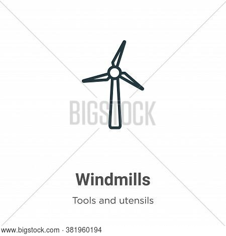 Windmills icon isolated on white background from tools and utensils collection. Windmills icon trend