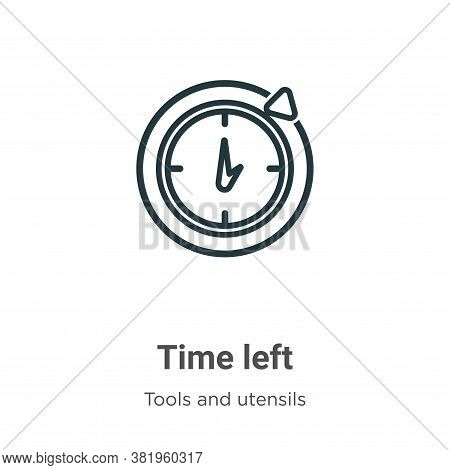 Time left icon isolated on white background from tools and utensils collection. Time left icon trend