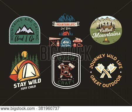 Vintage Camp Patches Logos, Mountain Badges Set. Hand Drawn Stickers Designs Bundle. Travel Expediti