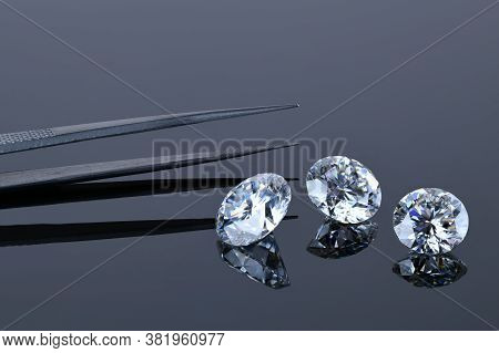 Diamond Gemstone. Precious Loose Diamonds. Round Cut Gem Stone.