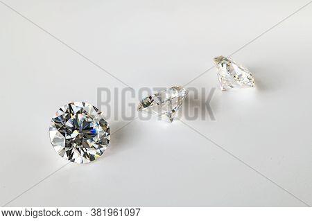 Precious Diamond Gemstones On The White Background