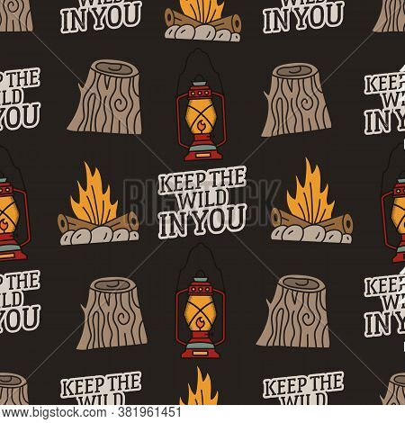 Vintage Hand Drawn Camping Seamless Pattern With Retro Camp Lantern, Stump, Campfire And Typography