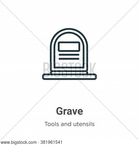 Grave icon isolated on white background from tools and utensils collection. Grave icon trendy and mo