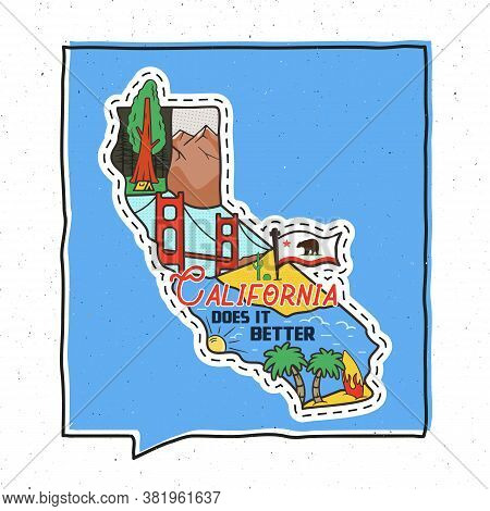 Vintage Adventure California Badge Illustration Design. Outdoor Us State Emblem With Cali Attraction
