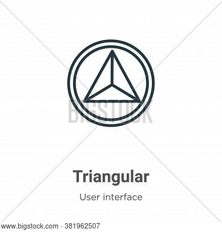 Triangular icon isolated on white background from user interface collection. Triangular icon trendy