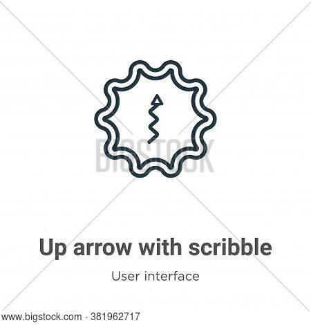 Up arrow with scribble icon isolated on white background from user interface collection. Up arrow wi