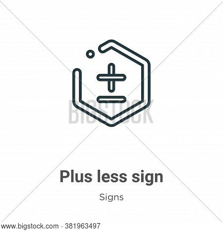 Plus less sign icon isolated on white background from signs collection. Plus less sign icon trendy a