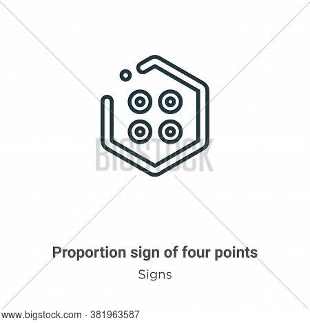 Proportion sign of four points icon isolated on white background from signs collection. Proportion s