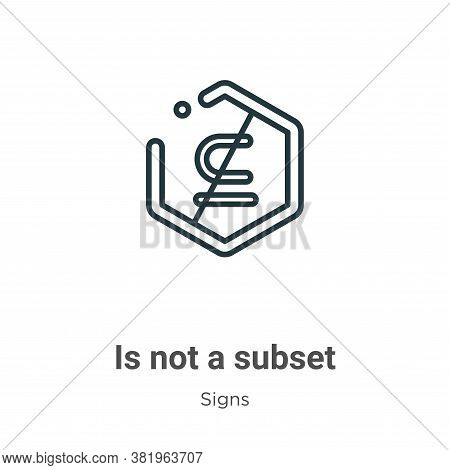 Is not a subset symbol icon isolated on white background from signs collection. Is not a subset symb