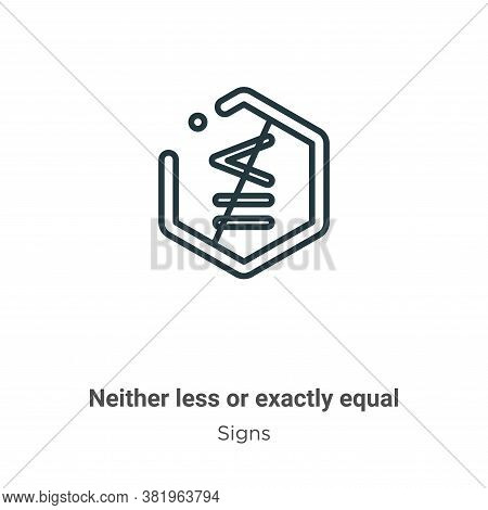 Neither less or exactly equal symbol icon isolated on white background from signs collection. Neithe